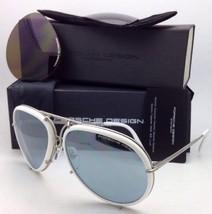 PORSCHE DESIGN Titanium Aviator Sunglasses P'8613 C 64- White Silver-2 Lens Sets