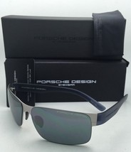 New PORSCHE DESIGN Titanium Sunglasses P'8573 A Matte Silver & Blue Frame w/Grey