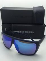New PORSCHE DESIGN Sunglasses P'8597 C 125 Matte Blue Frame w/Blue Mirror Lenses