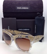 New DOLCE&GABBANA Sunglasses DG 4231 2851/13 Clear w/ Gold Lace w/Brown Gradient