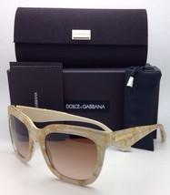 DOLCE&GABBANA Sunglasses DG 4197 2747/13 Gold Leaf on Sand-Cream w/ Brown Fade