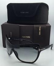 New Tom Ford Sunglasses Ekaterina Tf 363 01B Shield 135 Black Frame w/ Gray Fade - $379.95