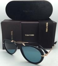 New TOM FORD Sunglasses AARON TF 473 01V 53-17 Black & Gold Frames w/Blue Lenses