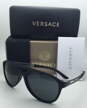 New VERSACE Sunglasses VE 4312 5141/87 60-15 Black Rubber Frames w/ Grey Lenses