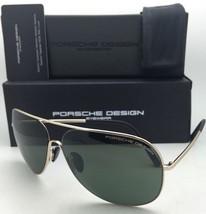 New PORSCHE DESIGN Aviator Sunglasses P'8605 B 64-12 Gold Frames w/ Green Lenses