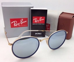New RAY-BAN Folding Sunglasses RB 3517 001/30 51-22 Gold & Blue w/ Silver Mirror