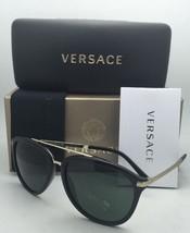 New VERSACE Sunglasses VE 4299 GB1/71 Black & Gold Frames w/ Grey-Green Lenses