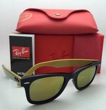 New RAY-BAN WAYFARER Sunglasses RB 2140 1173/93 50-22 Black Frame w/ Gold Mirror