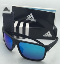 ADIDAS Sunglasses WHIPSTART A423 00 6055 61-16 Matte Black Frame w/ Blue Mirror