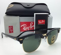New CLUBMASTER Ray-Ban Sunglasses RB 3016 W0365 51-21 Black & Gold w/ G-... - $149.95