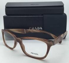 New PRADA Eyeglasses VPR 14P MAQ-1O1 53-17 Brown Horn Frame w/ Clear Demo Lenses