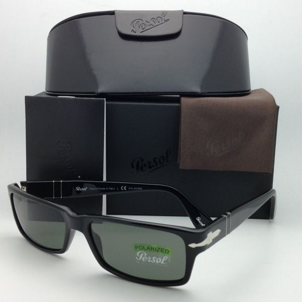 531b5b1a74 New Polarized PERSOL Sunglasses 2747-S 95 48 57-16 Black w  Crystal Green  lenses -  259.95