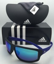 New ADIDAS Sunglasses KUMACROSS 2.0 A424 6055 Black & Blue Frames w/ Blue Mirror