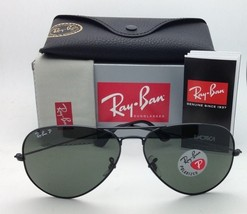 Polarized RAY-BAN Sunglasses RB 3025 Large Metal 002/58 55-14 Black Frames+Green