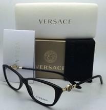 New VERSACE Eyeglasses VE 3206 GB1 54-15 Black & Gold Frame w/ Clear Demo Lenses