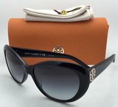 New TORY BURCH Sunglasses TY 7005 501/11 Black Cat-Eye Frame w/ Grey Gradient