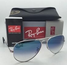 Ray-Ban Sunglasses RB 3025 LARGE METAL 003/3F 58-14 Silver Aviator w/Blue+Mirror