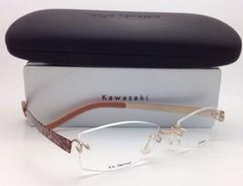 KAZUO KAWASAKI Titanium Eyeglasses MP 704 11 Rimless Two-Tone Gold/Lepoard Frame