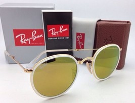 New RAY-BAN Folding Sunglasses RB 3517 001/93 51-22 Gold Frame w/Brown + Mirror