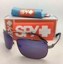 New SPY OPTIC Sunglasses LEO Gunmetal Aviator Frame w/ Bronze Lenses+Blue Mirror
