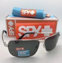 Polarized SPY OPTIC Sunglasses LEO Silver Aviator Frame w/ Happy Grey-Green Lens