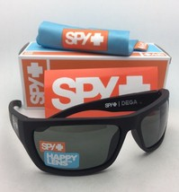 New SPY OPTIC Sunglasses DEGA Soft Matte Black Frame w/ Happy Grey Green Lenses
