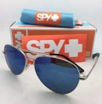 New Spy Optic Sunglasses Whistler Silver Aviator Frame w/ Grey-Green+Blue Mirror - $119.95
