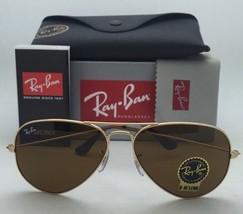 New RAY-BAN Sunglasses RB 3025 001/33 55-14 Gold Aviator Frame w/ B15 Brown Lens