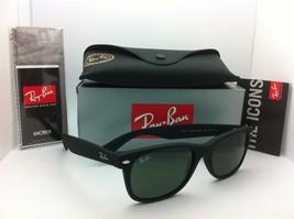 New Ray-Ban Sunglasses RB 2132 NEW WAYFARER 622 55-18 Black rubber w/G15 lenses