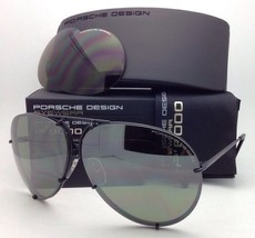 PORSCHE DESIGN Titanium Aviator Sunglasses P'8478 D 69 Black Frame w/2 Lens Sets
