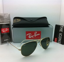 Ray-Ban Sunglasses LARGE METAL RB 3025 W3234 55-14 Arista w/Crystal Green lenses