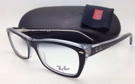 New RAY-BAN Eyeglasses RB 5255 2034 53-16 Black on Clear Frames with Demo Lenses