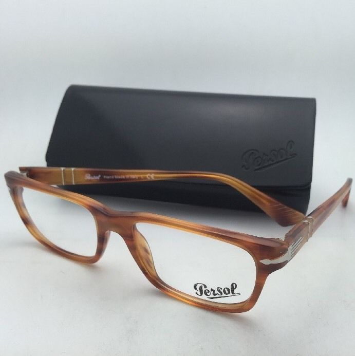 2347870ba43cc New PERSOL Rx-able Eyeglasses 3096-V 960 53-18 Striped Brown Frame w  Clear  Lens -  299.95