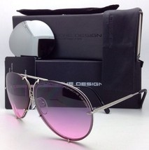 PORSCHE DESIGN Titanium Aviator Sunglasses P'8478 M 69-10 Silver w/ 2 Lens Sets