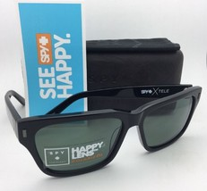 Polarized SPY OPTIC CROSSTOWN Sunglasses TELE Shiny Black Frame w/ Grey Green
