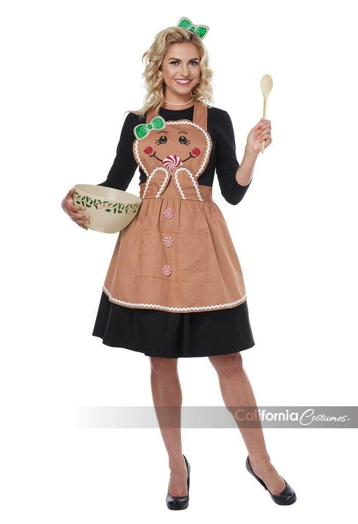 California Costumi Pan di Zenzero Grembiule Adulto Donna Natale Costume 01497