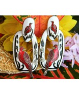 Vintage Bird Earrings Cloisonne Guilloche Enamel Signed REO Pierced - $21.95