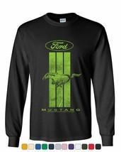 Ford Mustang Green Stripe Long Sleeve T-Shirt Classic American - $10.61+