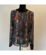 Alice Blue - stitch fix blouse-  SIZE LARGE -  SHEER WITH LINED BODICE P... - $16.48