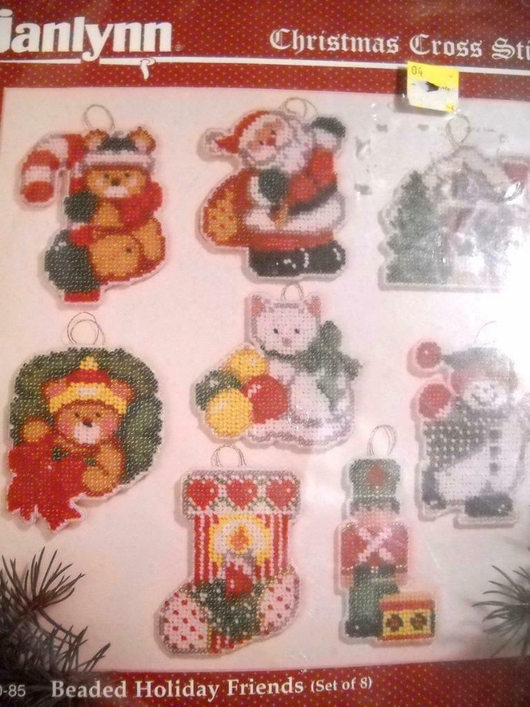 Janlynn Holiday Friends Kit Cross Stitch Beaded Christmas Ornaments 140-85