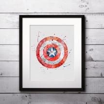 Superhero Captain America Logo Art Print Printable Watercolor poster Wal... - $1.75
