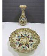 Molaroni Pesaro Pottery Bowl and Vase Italy Italian Hand Painted Stunning - $47.52