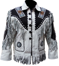Cow Boy Western Native America White Leather Jacket, Fringe Beads Bones ... - $210.00+