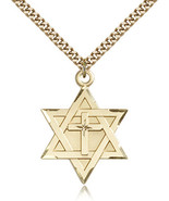 Gold Filled Star of David W/ Cross Pendant-24 Inch Necklace For Men 1212YGF/24G - $76.50