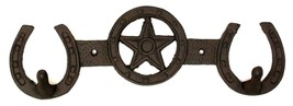 CAST IRON Star With Horseshoes 2-HOOK Rack Hanger Wall Mount Western Decor - $14.84