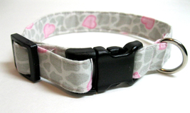 Pink heart dog collar on grey and white background, 3/4 inch S dog colla... - $13.00