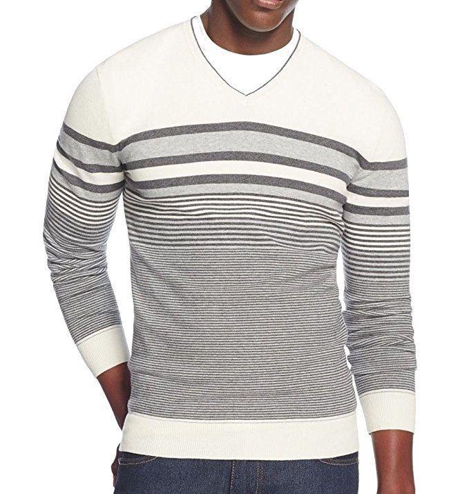 Alfani Striped V-Neck Sweater, Cotton/Nylon, White, Medium