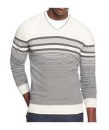 Alfani Striped V-Neck Sweater, Cotton/Nylon, White, Medium - $33.72