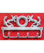 Cast Iron Anchor and Life Preserver Key Hook  Wall Mount Nautical Decor - $16.82