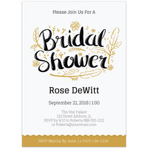 Gold and White Bridal Shower Invitations - $26.29 CAD